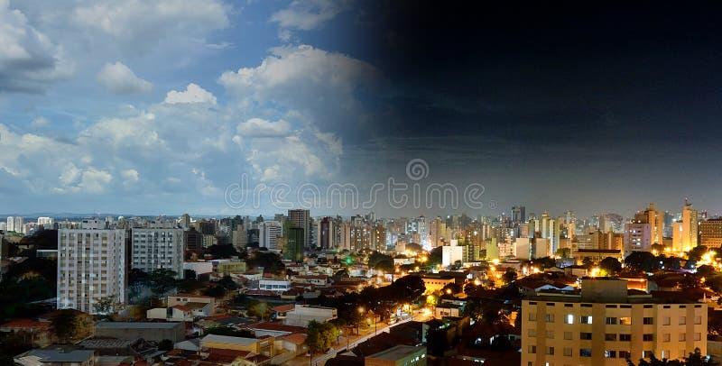 Opinión de alto ángulo de Campinas - SP en el Brasil Día y noche imagen de archivo libre de regalías
