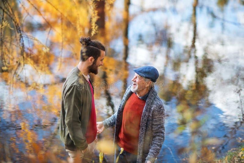 Opinión de alto ángulo del padre mayor y de su situación del hijo en naturaleza, hablando fotografía de archivo libre de regalías