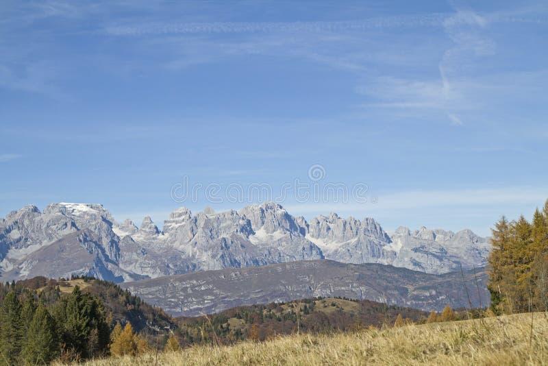 Opinión de Brenta de Monte Bondone fotografía de archivo libre de regalías