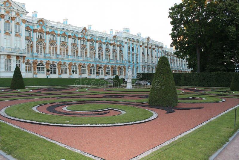 Opinión de Catherine Palace del parque Ciudad de Pushkin fotos de archivo
