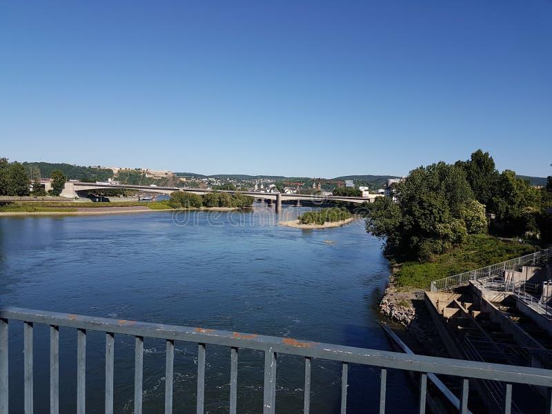 Opinión de Coblenza sobre el río de Mosela imagen de archivo libre de regalías