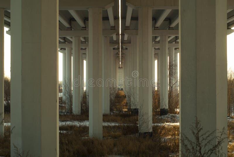 Opinión de debajo sobre las ayudas del puente a través del terreno de aluvión River Valley en otoño fotografía de archivo