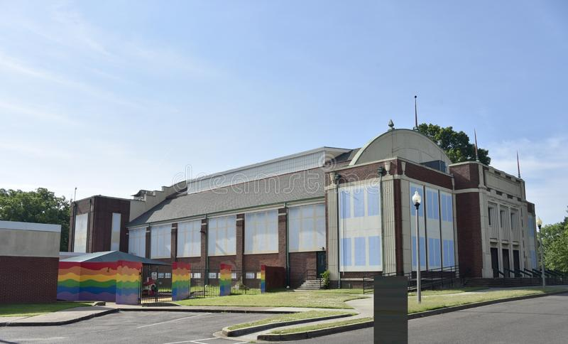 Opinión de Gaston Park Branch Library Side, Memphis, TN foto de archivo