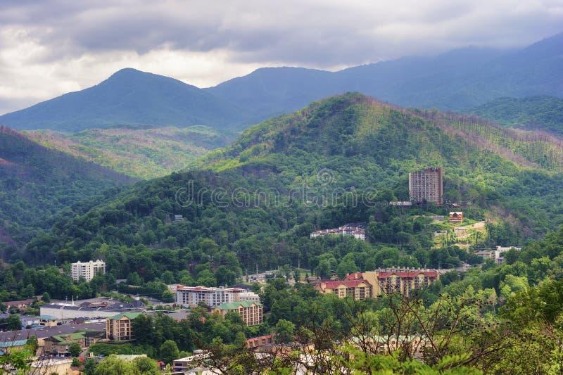 Opinión de Gatlinburg Tennessee de la ladera próxima imagen de archivo libre de regalías