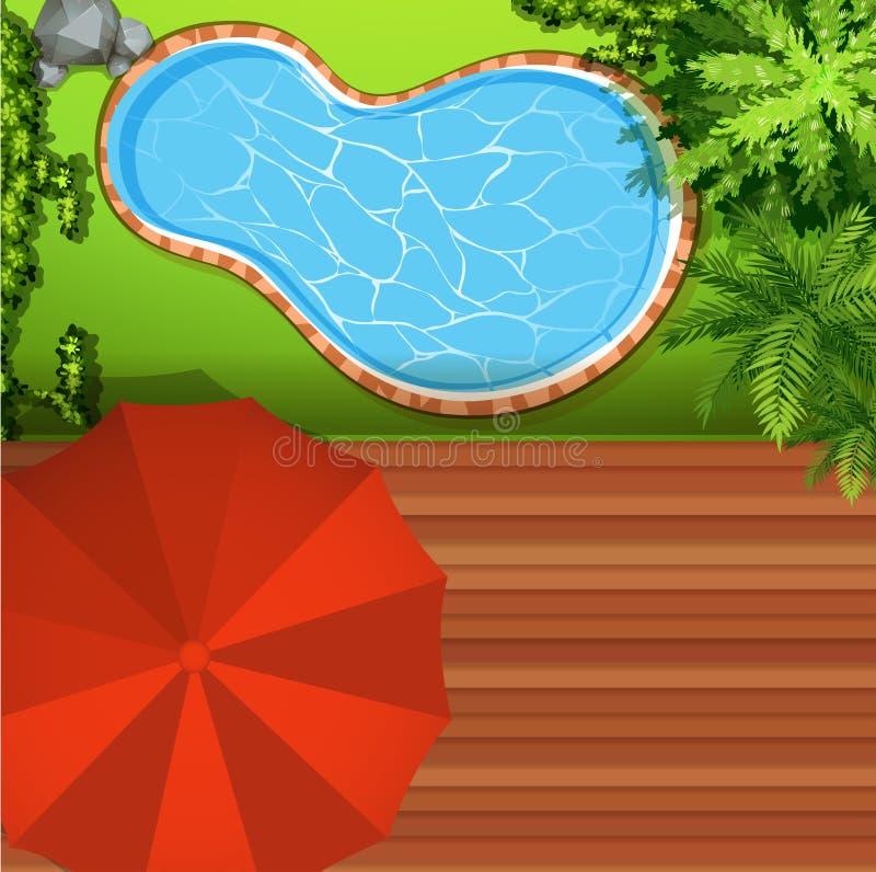 Opinión de Hawkeye de la piscina ilustración del vector