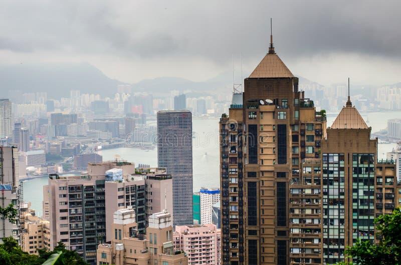 Opinión de Hong Kong del top del parque de Victoria fotos de archivo libres de regalías