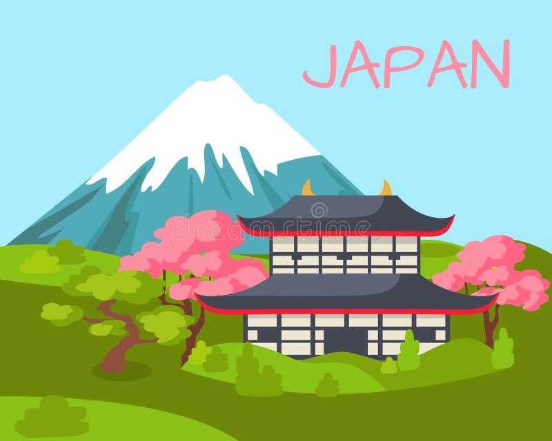 Opinión de Japón sobre el edificio asiático y Sakura de florecimiento ilustración del vector