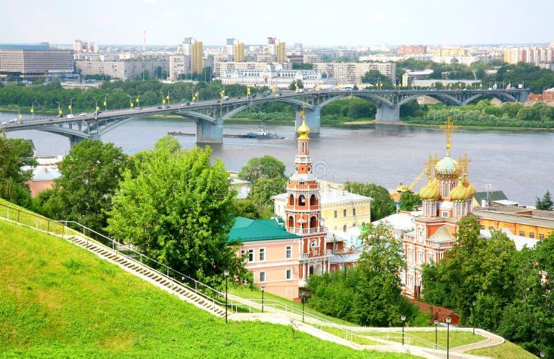 Opinión de julio de la iglesia Nizhny Novgorod de Stroganov fotografía de archivo libre de regalías