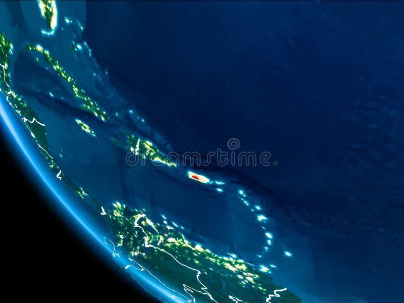 Opinión de la órbita de Puerto Rico en la noche fotos de archivo libres de regalías