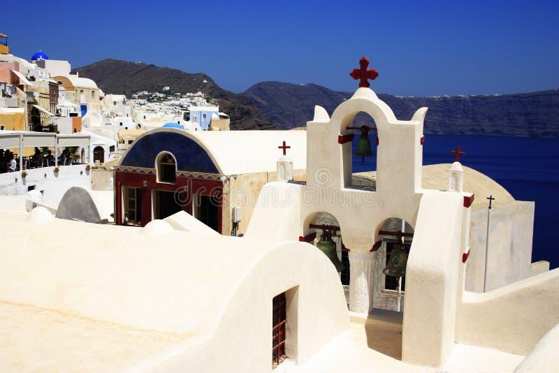 Opinión de la aldea de Santorini imagen de archivo libre de regalías