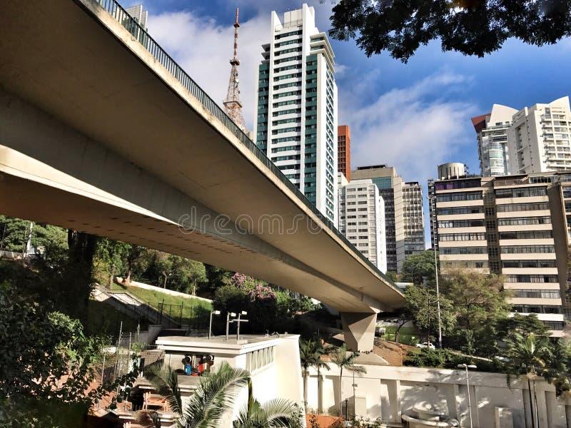Opinión de la avenida de São Pablo 9 de julho foto de archivo
