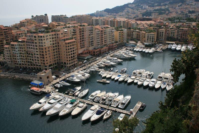 Opinión de la bahía del puerto deportivo de Monte Carlo Mónaco imágenes de archivo libres de regalías