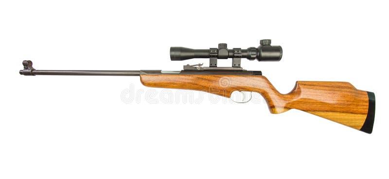 Opinión de la blanco del rifle, rifle de francotirador aislado en el fondo blanco imagenes de archivo