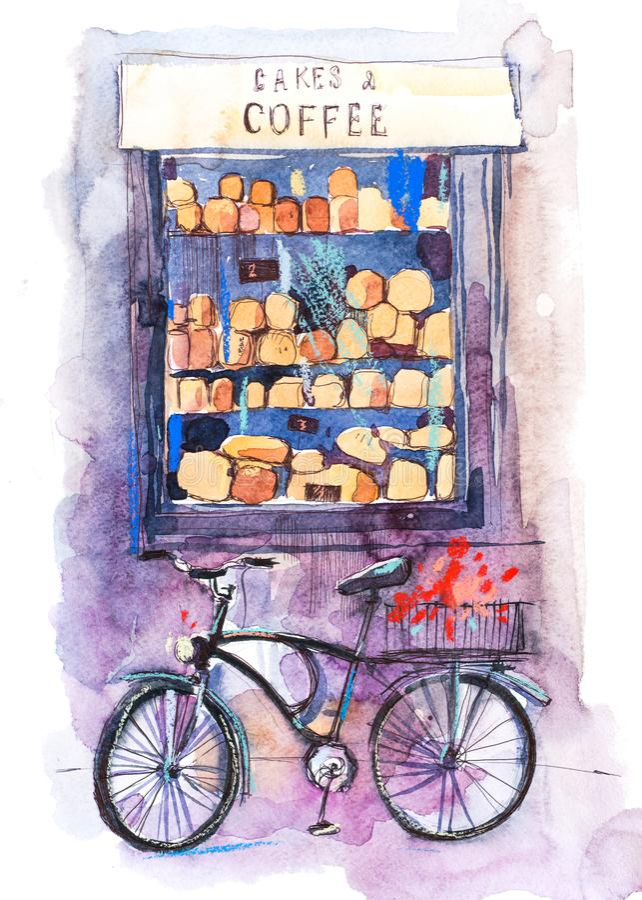 opinión de la Café-panadería de una variedad de pasteles en una ventana Surtido de pan cocido al horno ilustración del vector