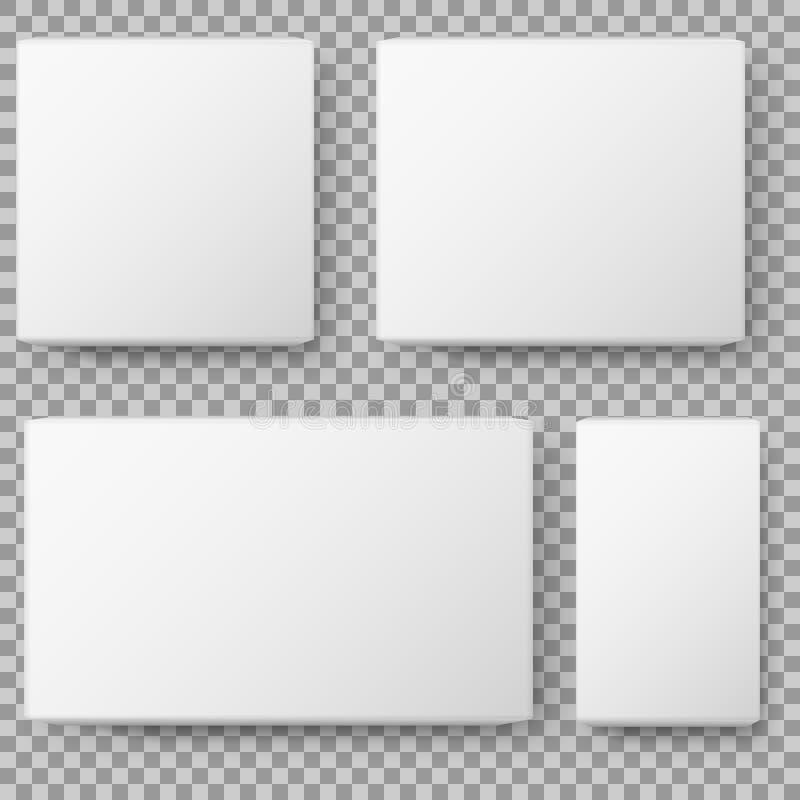 Opinión de la caja Caja de cartón en blanco blanca realista del paquete en fondo transparente Ilustración del vector stock de ilustración