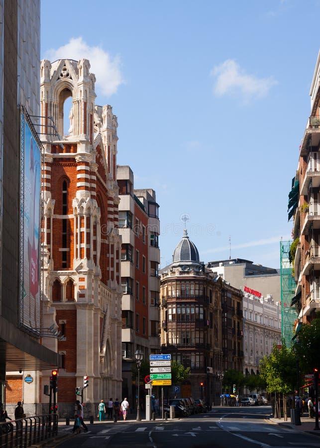 Opinión de la calle de Bilbao fotografía de archivo