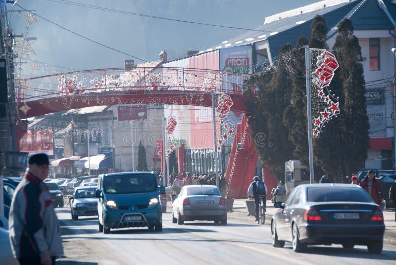 Opinión de la calle de Busteni foto de archivo libre de regalías