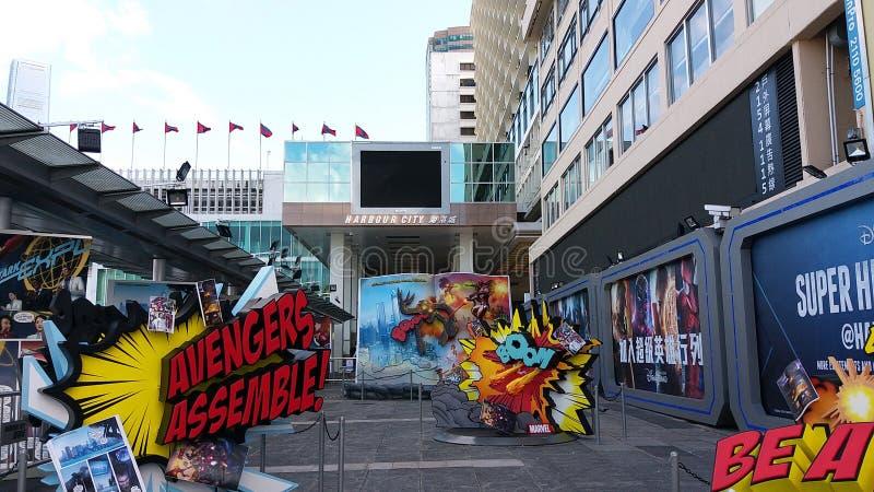 Opinión de la calle de Hong-Kong imagenes de archivo