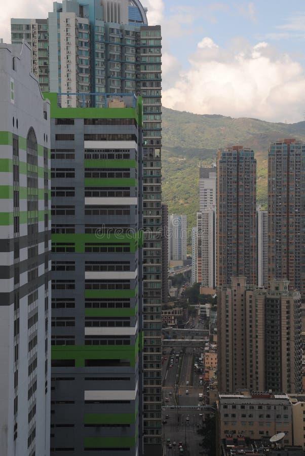 Opinión de la calle de Hong Kong - alta terraza de la prosperidad imagen de archivo
