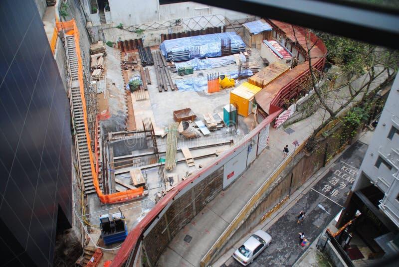 Opinión de la calle de Hong Kong - emplazamiento de la obra fotografía de archivo