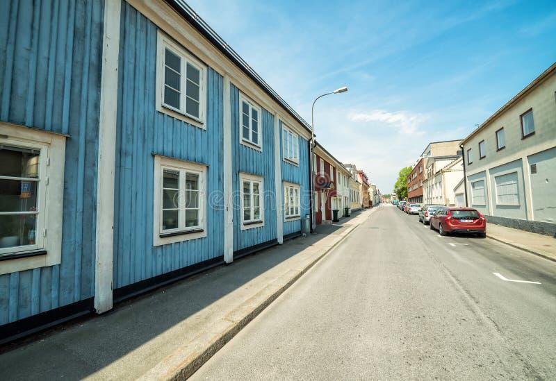 Opinión de la calle de Karlshamn en mayo imágenes de archivo libres de regalías