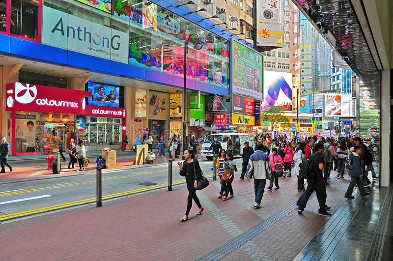 Opinión de la calle de la bahía del terraplén, Hong-Kong fotos de archivo