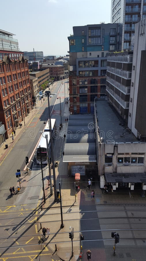Opinión de la calle de Manchester imagen de archivo