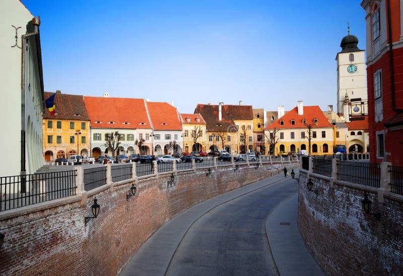 Opinión de la calle de Sibiu imágenes de archivo libres de regalías