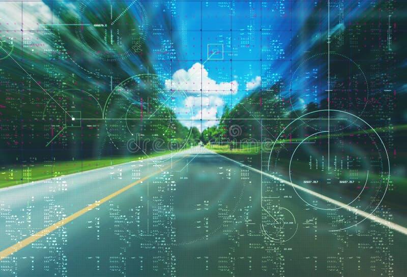 Opinión de la calle del coche autónomo de uno mismo-conducción imagenes de archivo