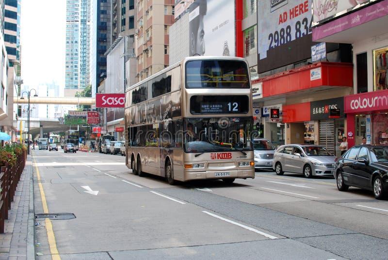 Opinión de la calle del districto central, Hong-Kong imagenes de archivo