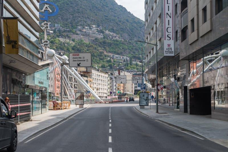Opinión de la calle en la ciudad de Andorra fotografía de archivo libre de regalías