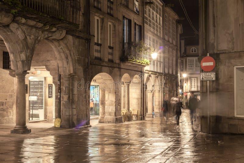 Opinión de la calle en la ciudad vieja Santiago de Compostela Galicia, España fotografía de archivo
