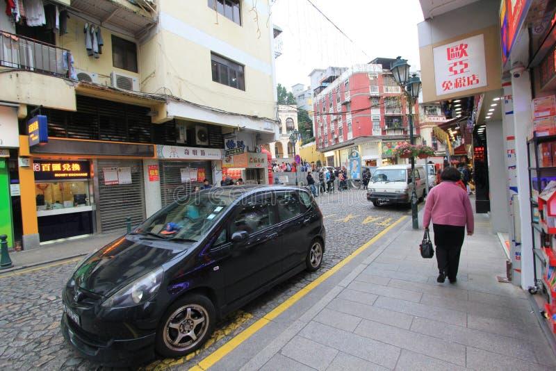 Opinión de la calle en Macao foto de archivo
