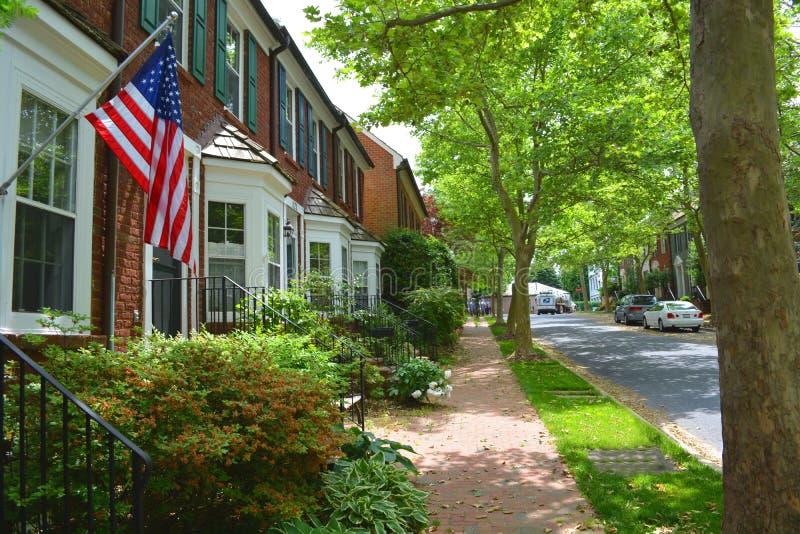 Opinión de la calle de Maryland de la ciudad de Kentlands imagen de archivo