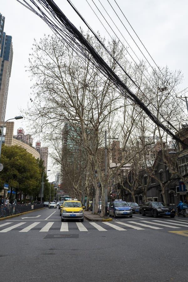 Opinión de la calle de Shangai foto de archivo