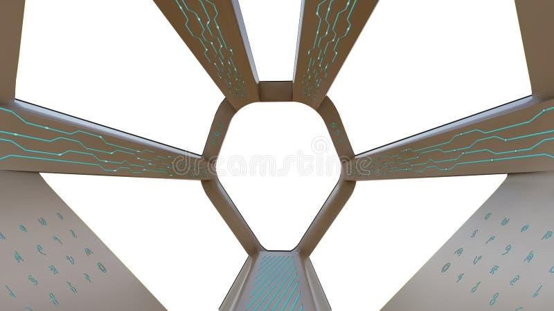 Opinión de la carlinga, nave espacial en el backgound blanco stock de ilustración