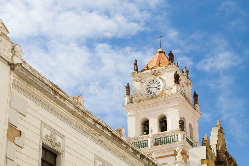 Opinión de la catedral de Sucre, Bolivia foto de archivo