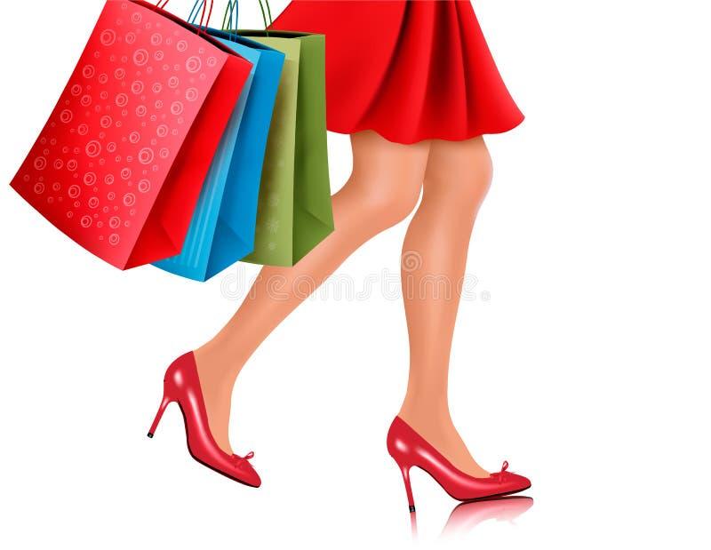 Opinión de la cintura-abajo la mujer de las compras ilustración del vector