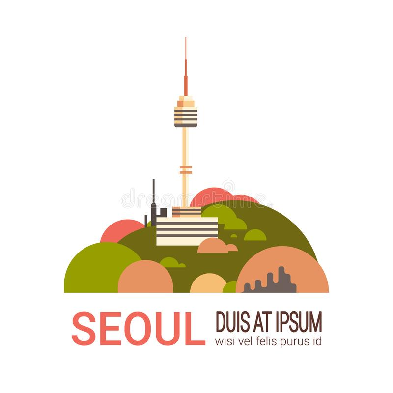 Opinión de la ciudad de la Corea del Sur del paisaje urbano de la torre de Seul con la bandera moderna del paisaje urbano de las  ilustración del vector