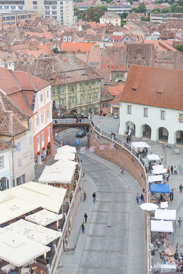 Opinión de la ciudad de Sibiu foto de archivo libre de regalías