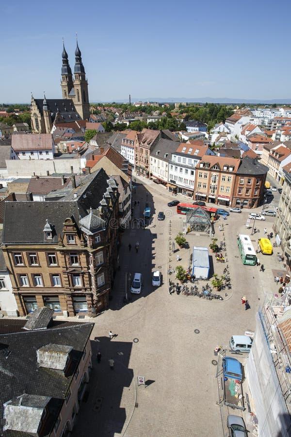 Opinión de la ciudad de Speyer imagenes de archivo