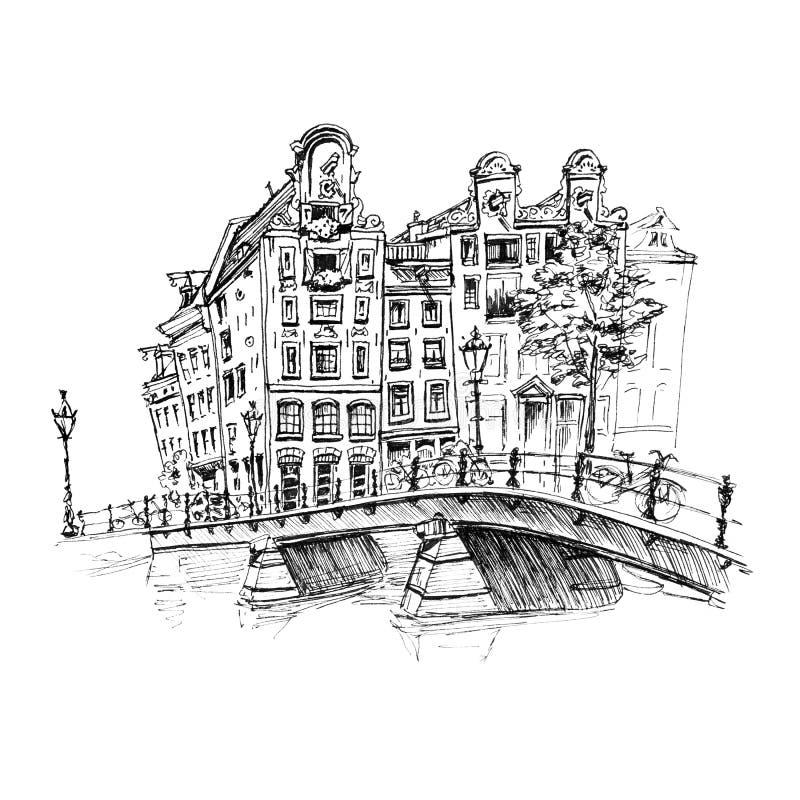 Opinión de la ciudad del canal y del brifge de Amsterdam ilustración del vector