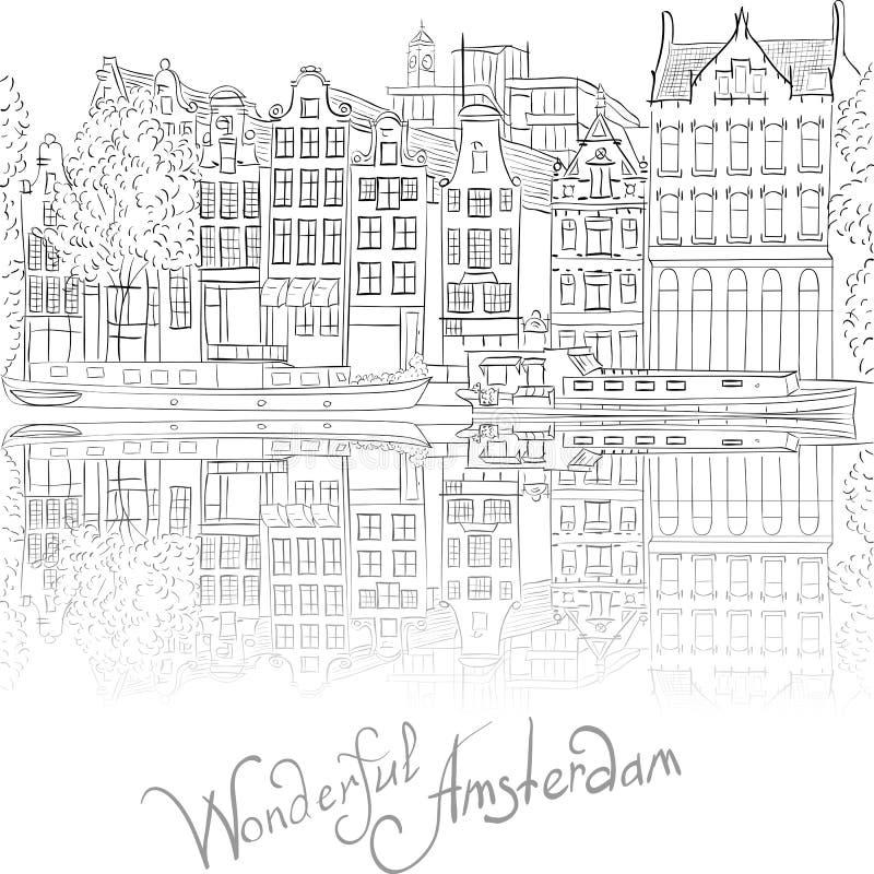Opinión de la ciudad del vector del canal de Amsterdam libre illustration