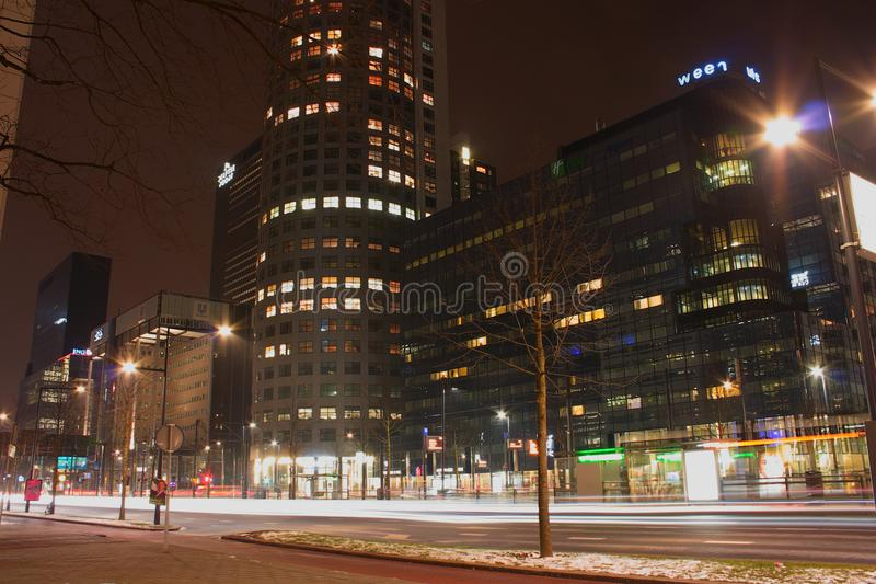 Opinión de la ciudad de la noche de Rotterdam, Netherland fotos de archivo libres de regalías
