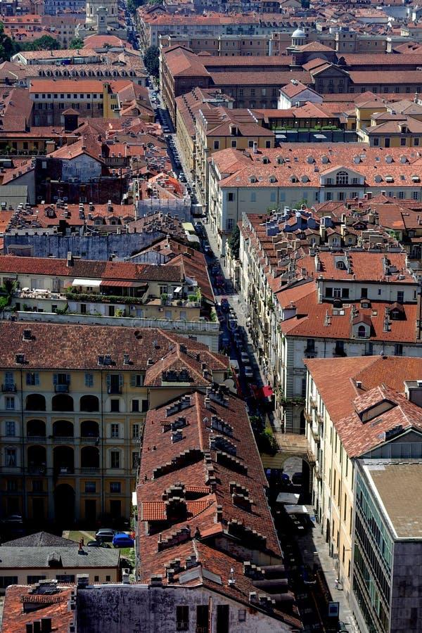 Opinión de la ciudad de Turín desde arriba foto de archivo libre de regalías