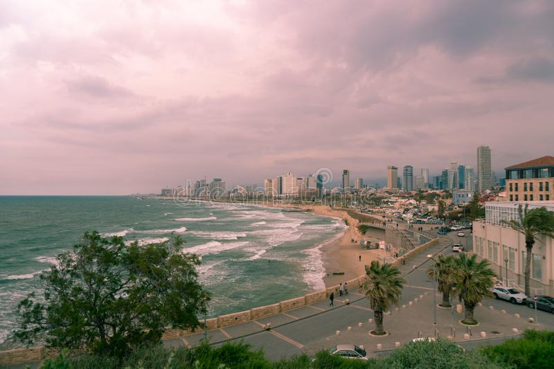 Opinión de la ciudad y del mar de Tel Aviv de Jaffa foto de archivo