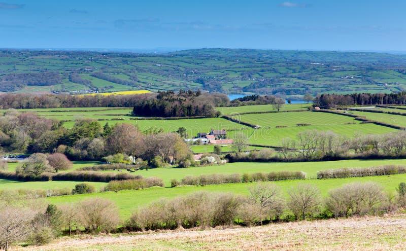 Opinión de la colina de Mendip del negro del punto más alto Somerset abajo fotografía de archivo
