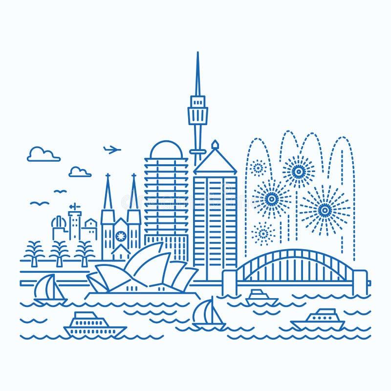Opinión de la costa de Sydneyskyline stock de ilustración