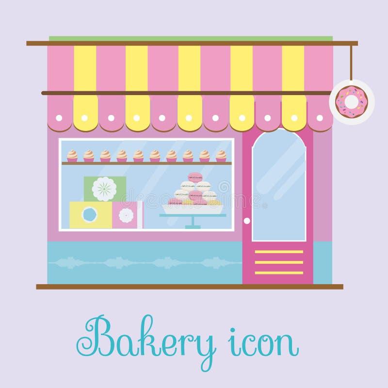 Opinión de la fachada de la panadería Icono de la panadería Tienda de los pasteles, pastelería, tienda del caramelo Ilustración d ilustración del vector