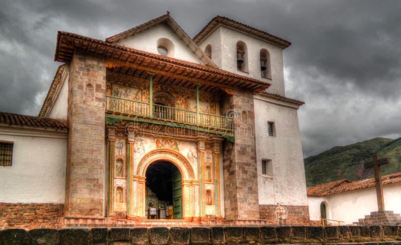 Opinión de la fachada a St Peter Church de Andahuaylillas, Cuzco, Perú fotos de archivo libres de regalías